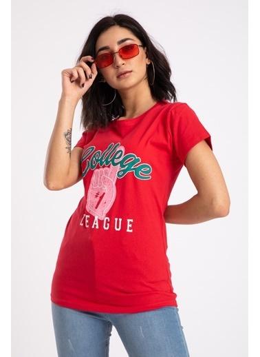 Madame Sare  Kadın Kırmızı Colleg Baskılı Tişört Kırmızı